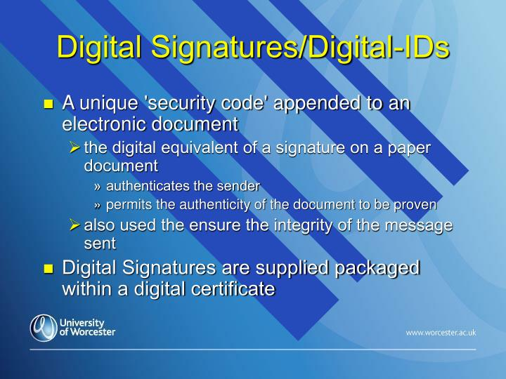 Digital Signatures/Digital-IDs