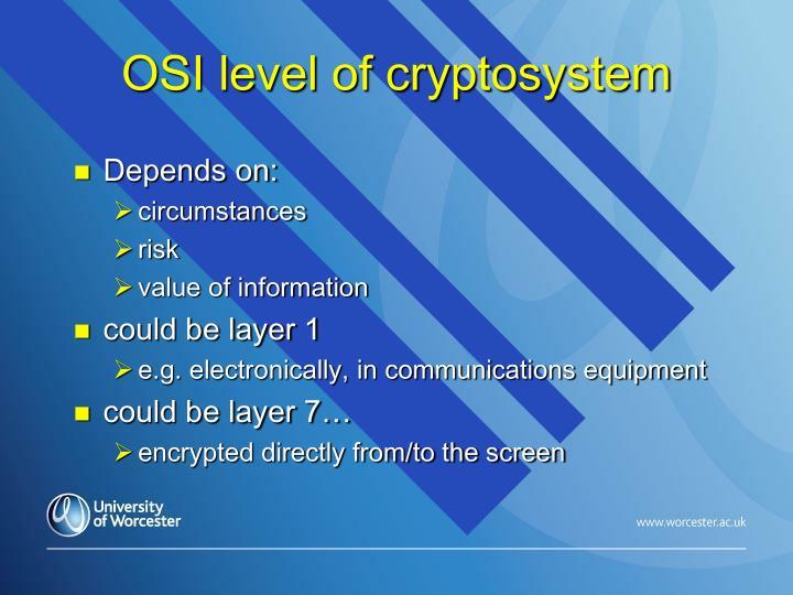OSI level of cryptosystem