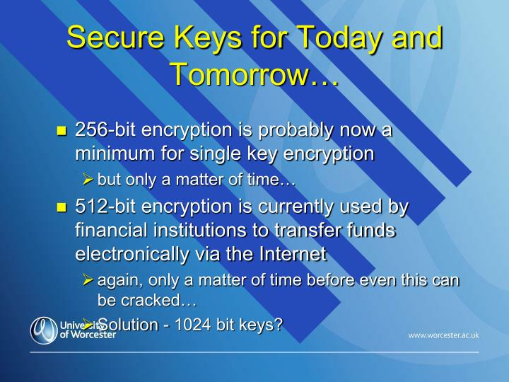 Secure Keys for Today and Tomorrow…