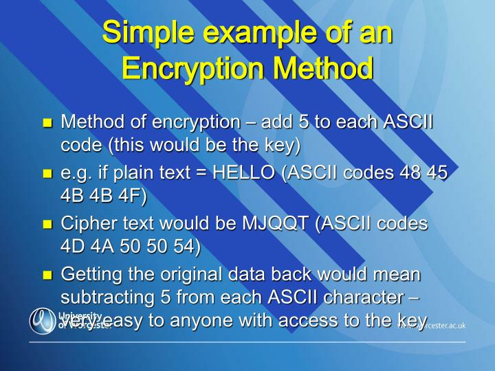 Simple example of an Encryption Method