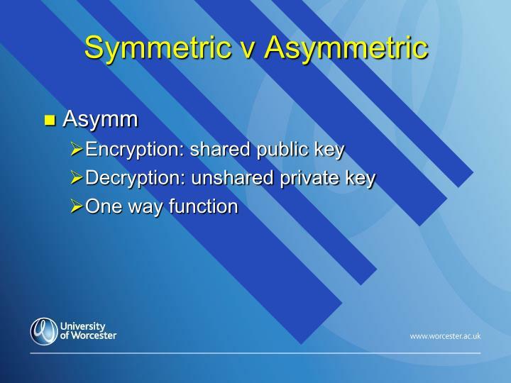 Symmetric v Asymmetric