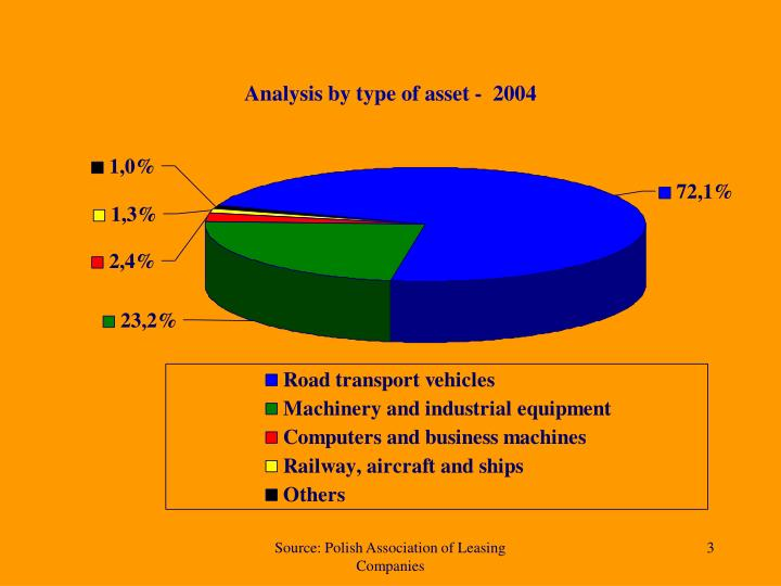 Analysis by type of asset -  2004