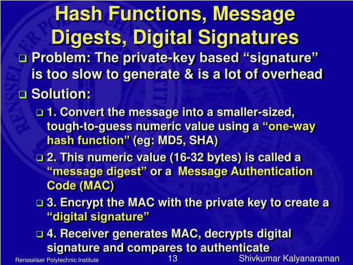 Hash Functions, Message Digests, Digital Signatures