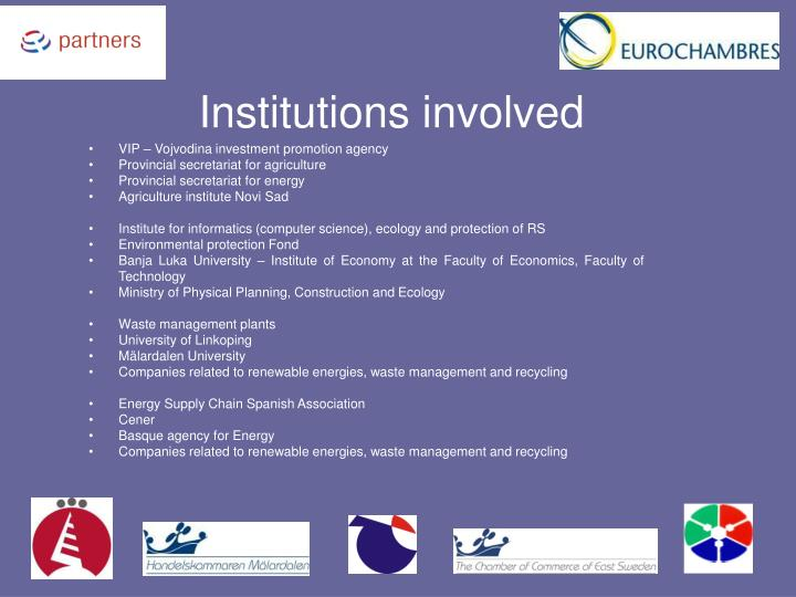 Institutions involved