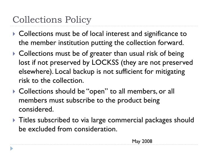 Collections Policy