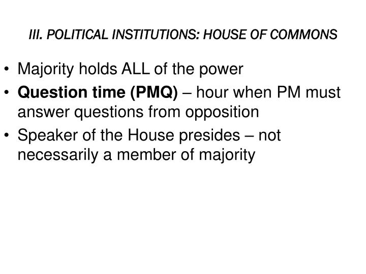 III. POLITICAL INSTITUTIONS: HOUSE OF COMMONS