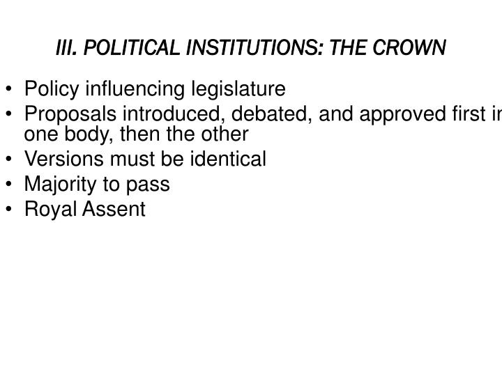 III. POLITICAL INSTITUTIONS: THE CROWN