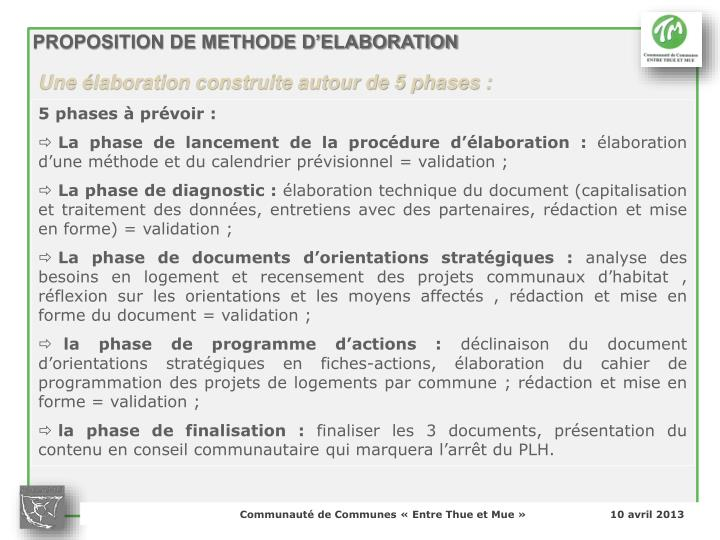 PROPOSITION DE METHODE D'ELABORATION