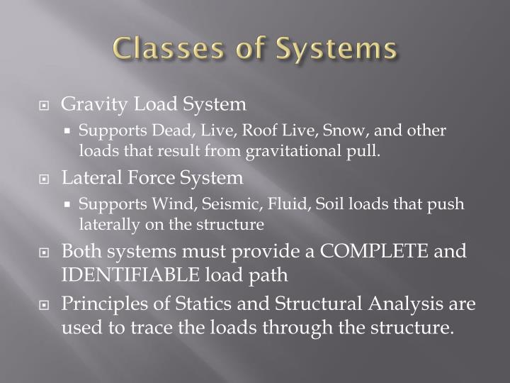 Classes of systems