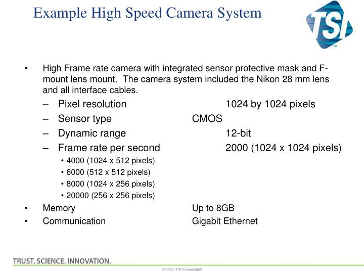 Example High Speed Camera System