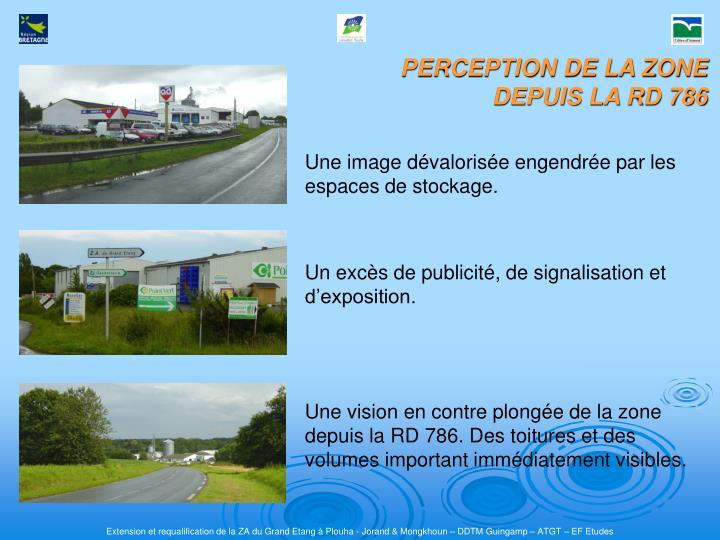 PERCEPTION DE LA ZONE DEPUIS LA RD 786