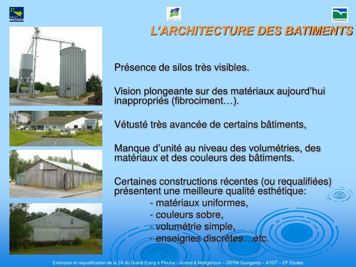 L'ARCHITECTURE DES BATIMENTS