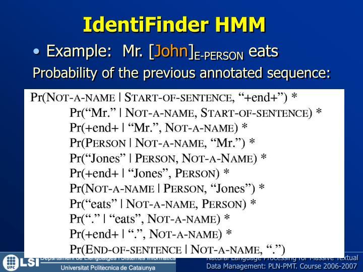 IdentiFinder HMM