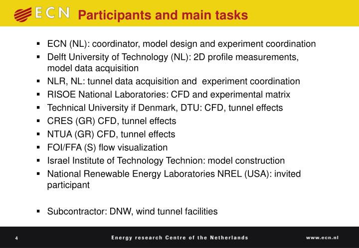 Participants and main tasks