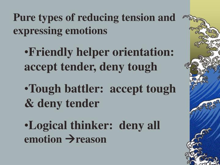 Pure types of reducing tension and expressing emotions