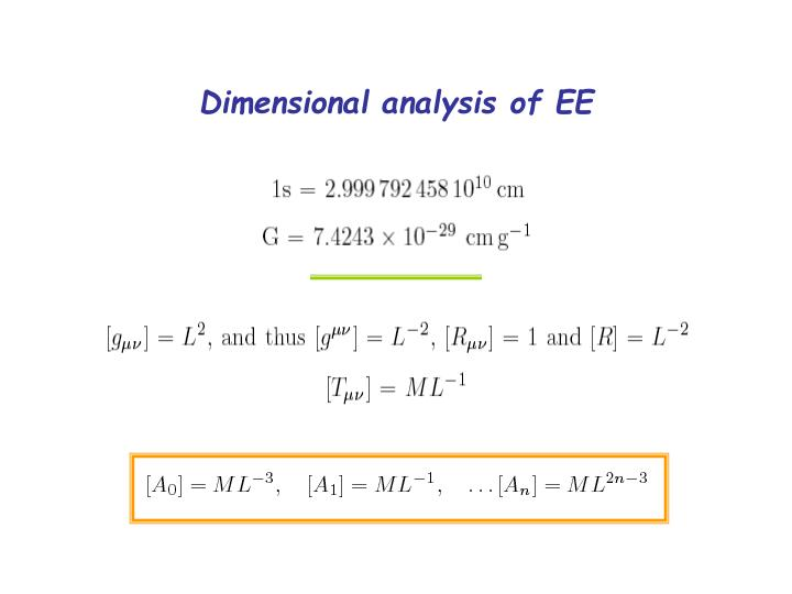 Dimensional analysis of EE