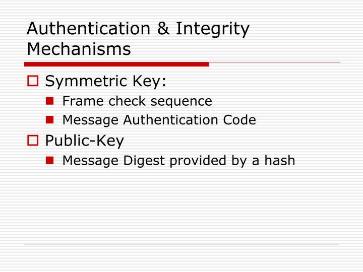 Authentication & Integrity Mechanisms