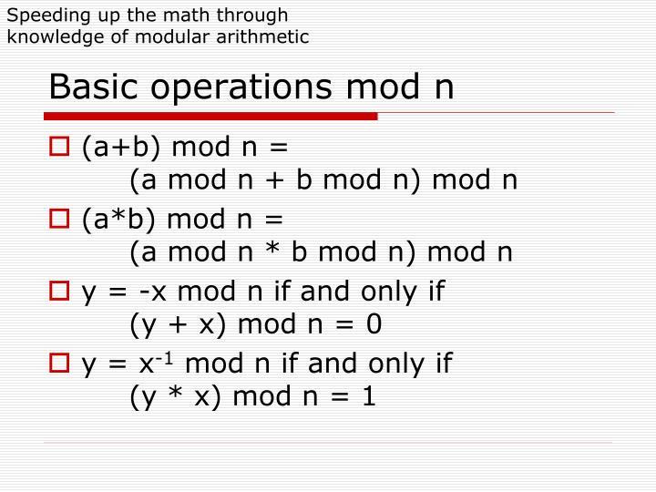 Speeding up the math through