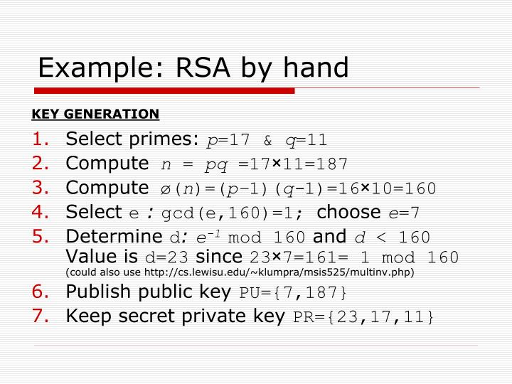 Example: RSA by hand