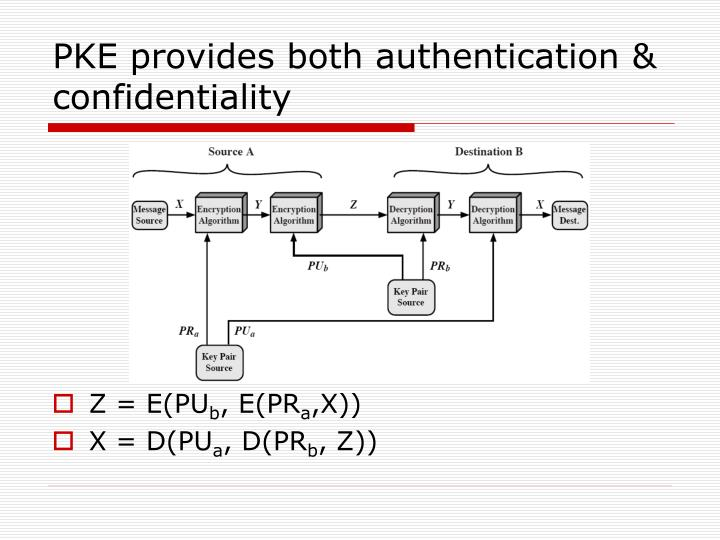 PKE provides both authentication & confidentiality