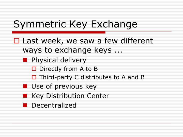 Symmetric Key Exchange