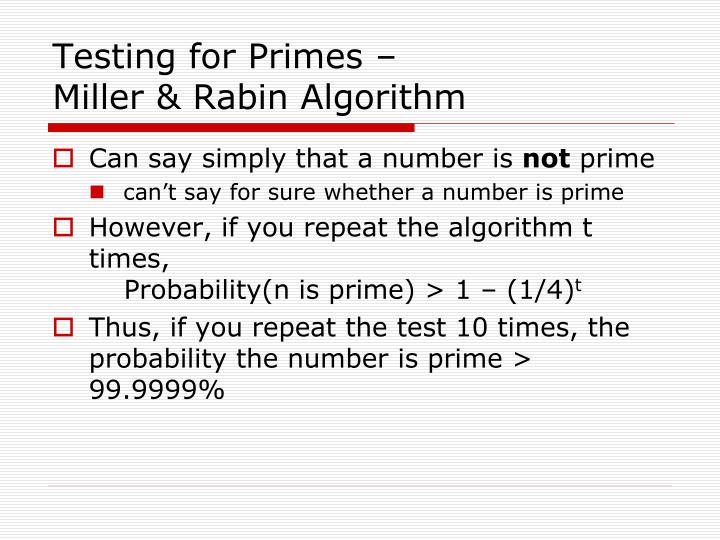 Testing for Primes –
