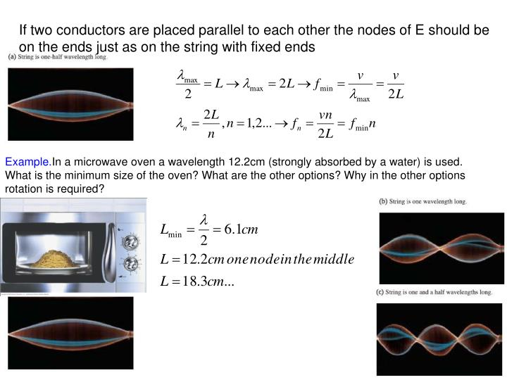 If two conductors are placed parallel to each other the nodes of E should be on the ends just as on the string with fixed ends