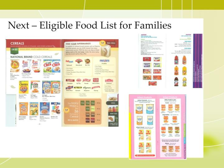Next – Eligible Food List for Families