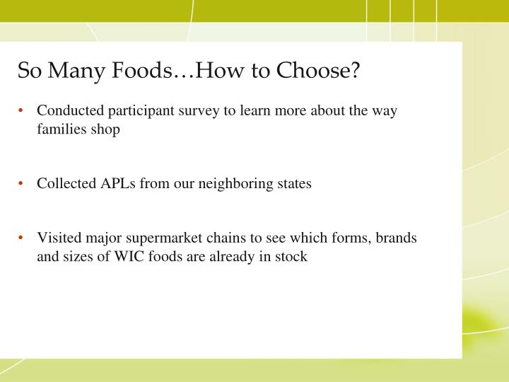 So Many Foods…How to Choose?