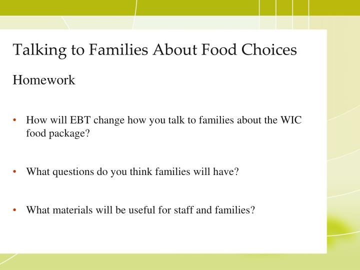 Talking to Families About Food Choices