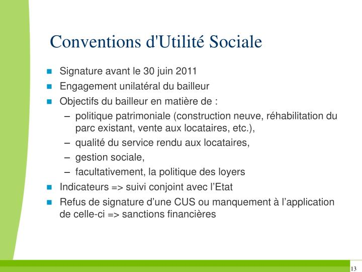 Conventions d'Utilité Sociale