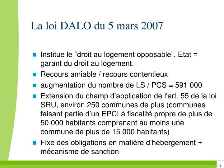 La loi DALO du 5 mars 2007
