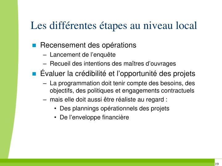 Les différentes étapes au niveau local