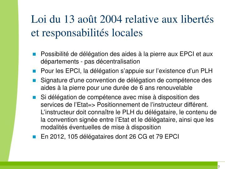 Loi du 13 août 2004 relative aux libertés et responsabilités locales