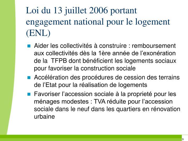 Loi du 13 juillet 2006 portant engagement national pour le logement (ENL)