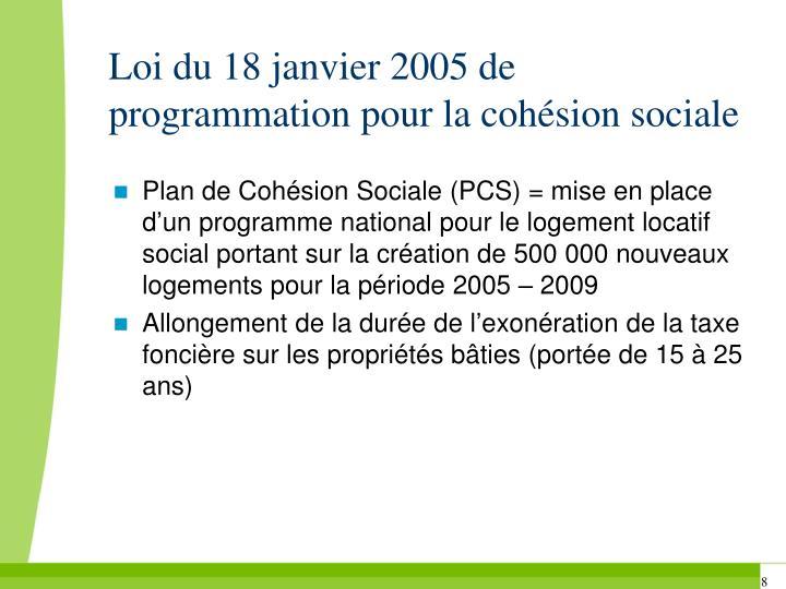 Loi du 18 janvier 2005 de programmation pour la cohésion sociale