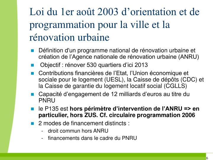Loi du 1er août 2003 d'orientation et de programmation pour la ville et la