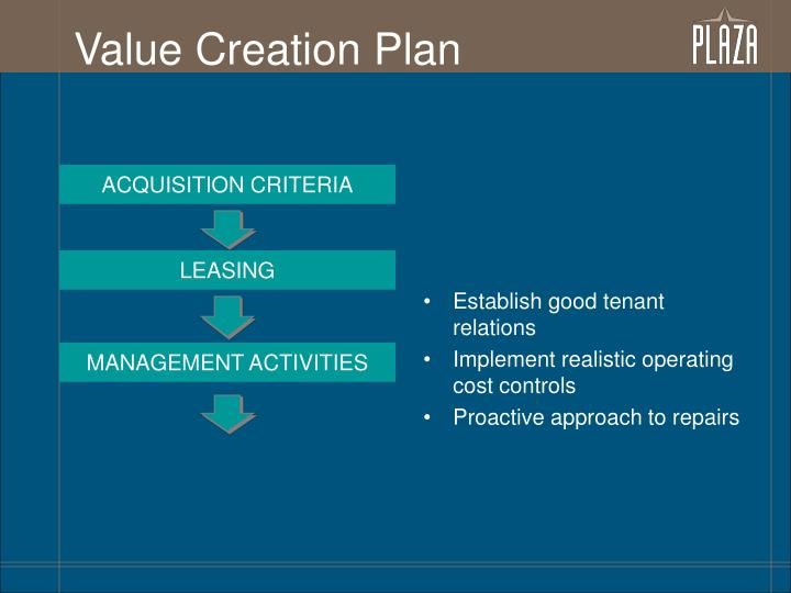 Value Creation Plan