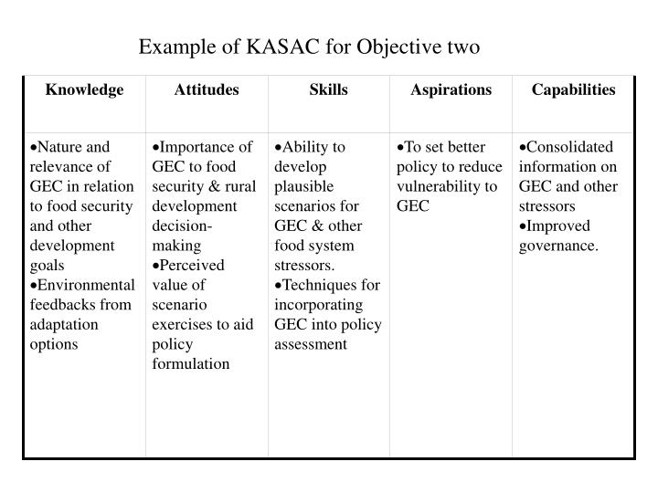Example of KASAC for Objective two