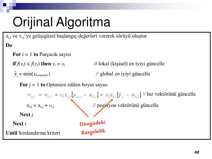 Orijinal Algoritma