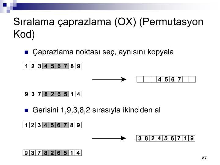 Sıralama çaprazlama (OX) (Permutasyon Kod)