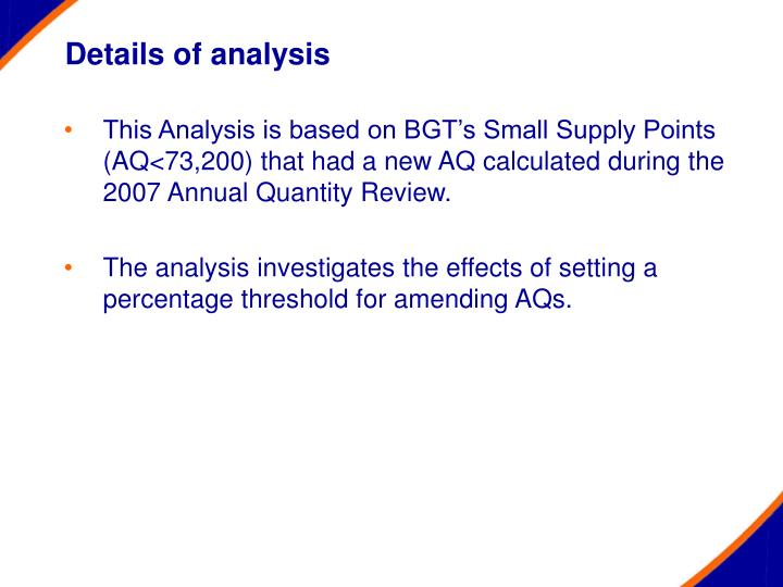 Details of analysis