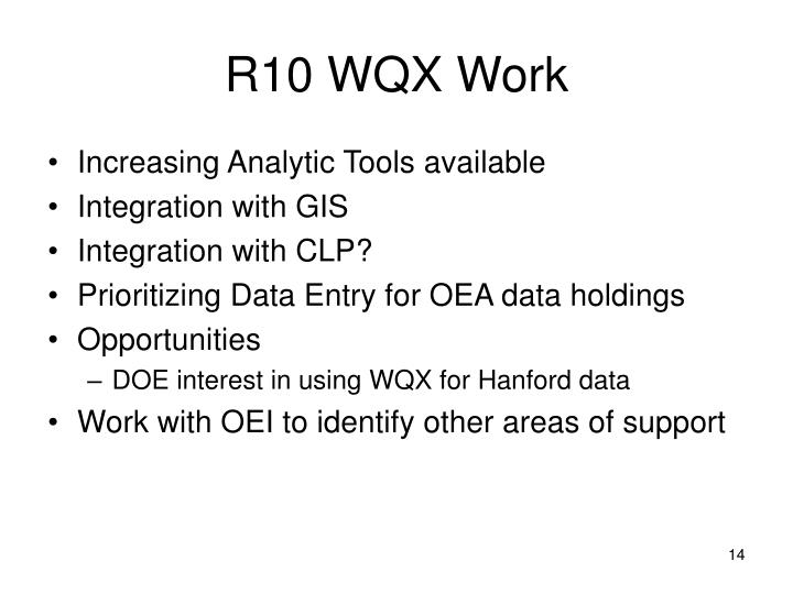 R10 WQX Work