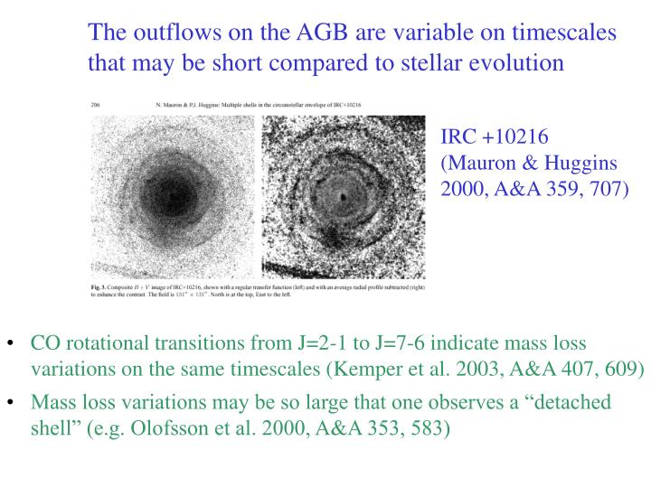 The outflows on the AGB are variable on timescales that may be short compared to stellar evolution