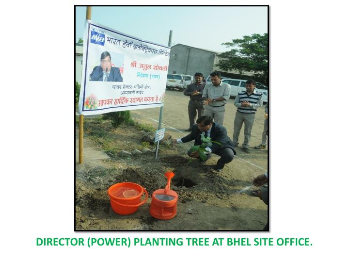 DIRECTOR (POWER) PLANTING TREE AT BHEL SITE OFFICE.