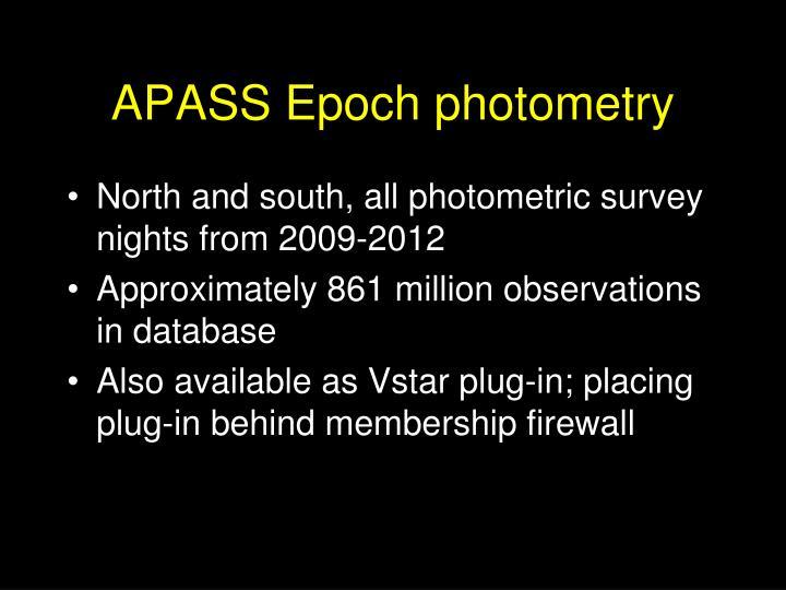 APASS Epoch photometry
