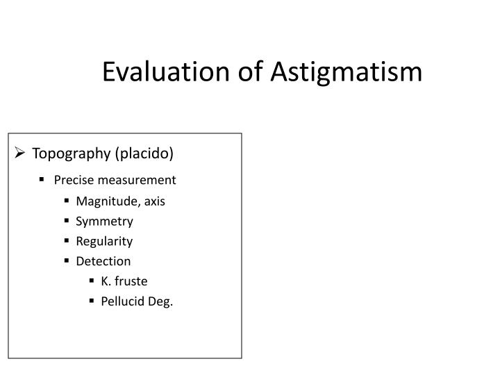 Evaluation of Astigmatism