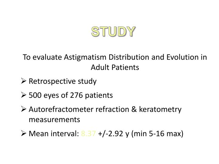 To evaluate Astigmatism Distribution and Evolution in Adult Patients