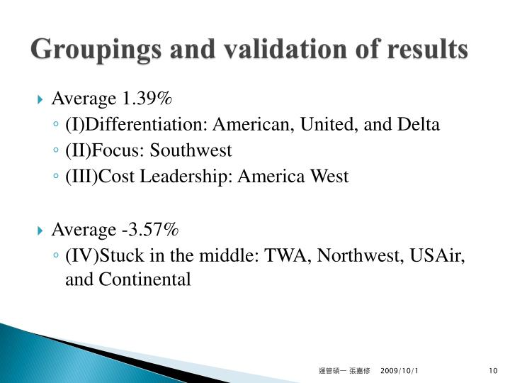 Groupings and validation of results