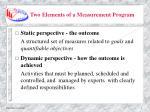 two elements of a measurement program